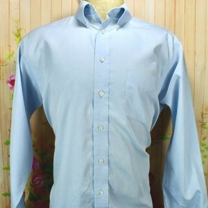 Stafford Micro Pinpoint Oxford Light Blue L/S Butt